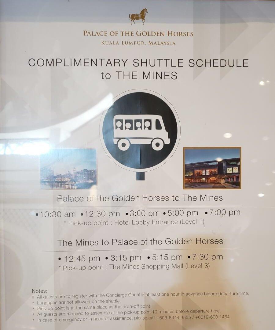 パレス オブ ザ ゴールデン ホーセズからminesまでのシャトルバスのスケジュール