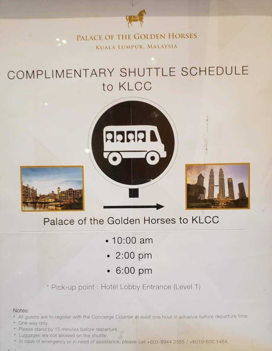 パレス オブ ザ ゴールデン ホーセズからKLCCまでのシャトルバスのスケジュール